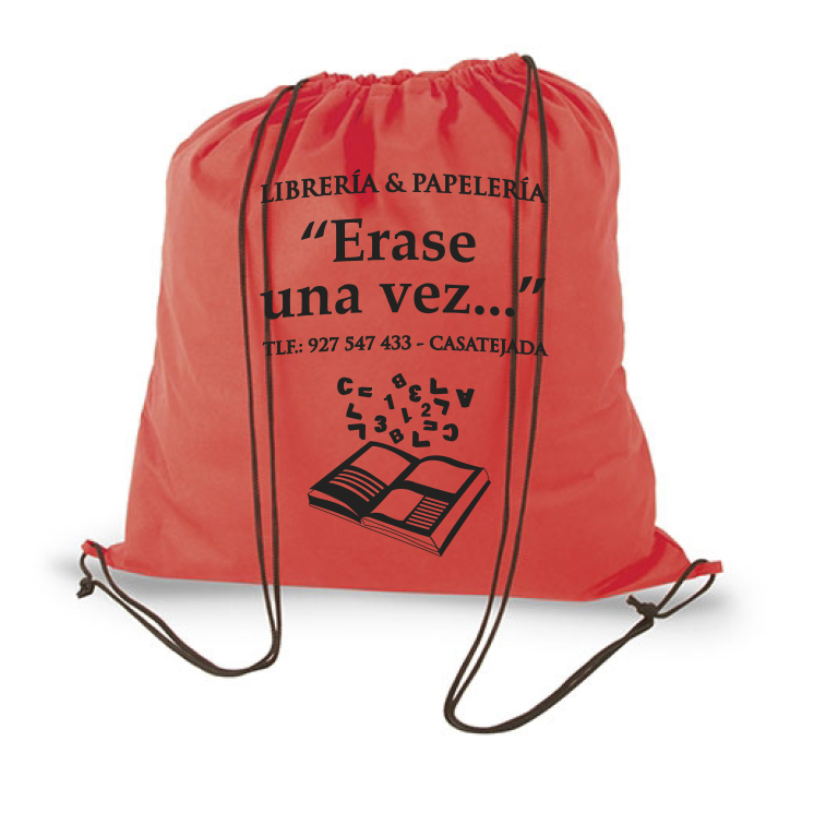 Bolsa mochila gymsak personalizable publicidad tejido non woven impresión a una tinta   Publiguindas.es