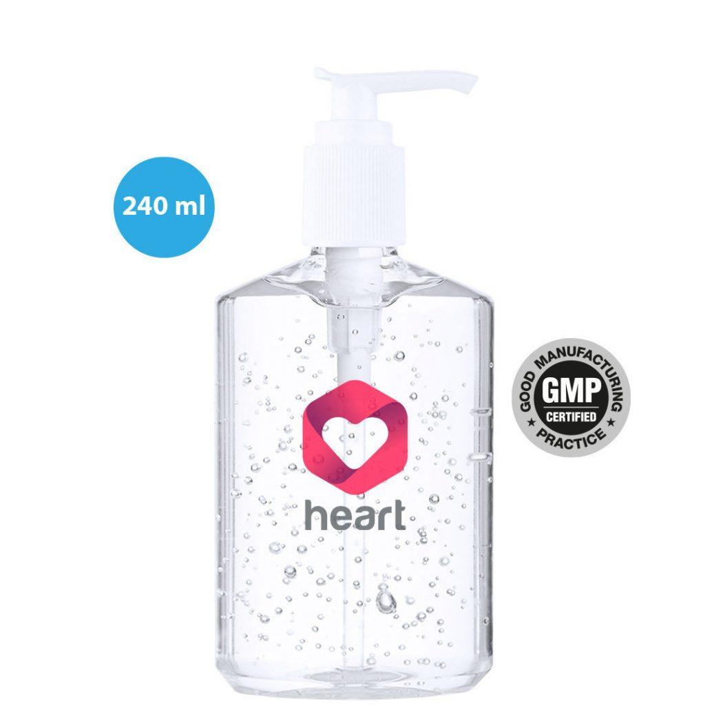 Gel Hidroalcohólico 240 ml. con dosificador COVID 19 | Publiguindas.es